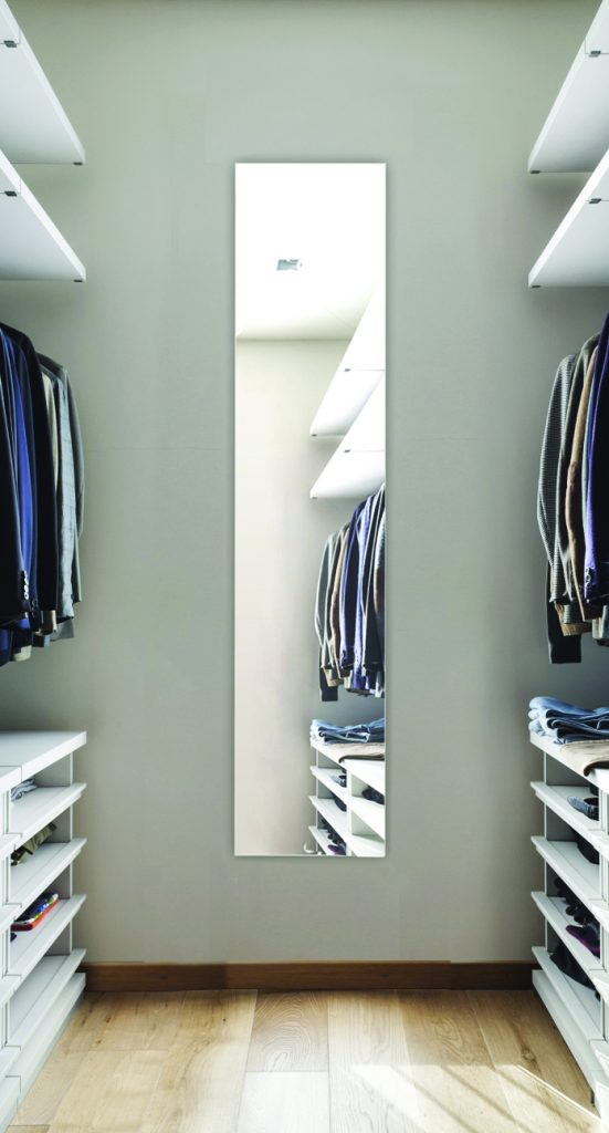 SIDLER Tall Mirrored Cabint in closet space